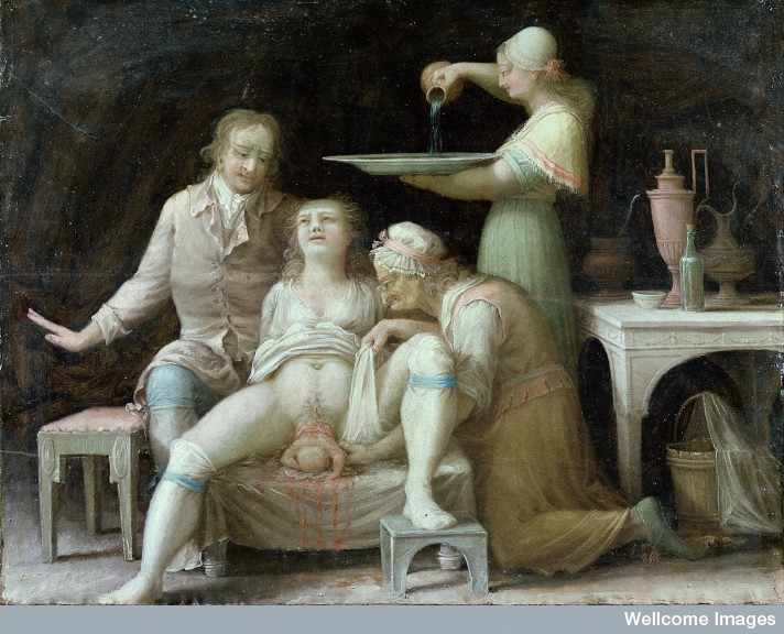 Images. L0015387 A birth-scene. Oil painting by a French (?) painter, Åbo, Sw